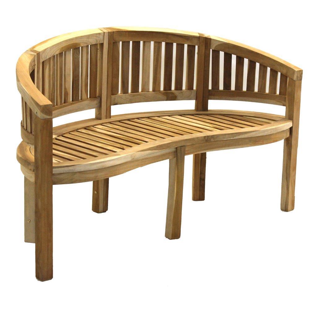 3er teakbank bananen bank teakholz holzbank gartenbank 150 cm affenbank ebay. Black Bedroom Furniture Sets. Home Design Ideas