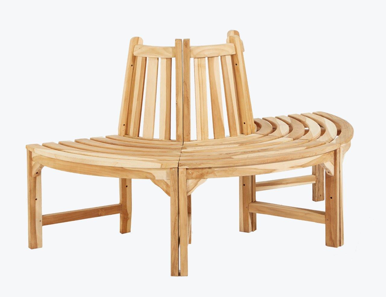 baumbank aus teakholz holzbank gartenbank 150 rundbank halber kreis teakbank ebay. Black Bedroom Furniture Sets. Home Design Ideas