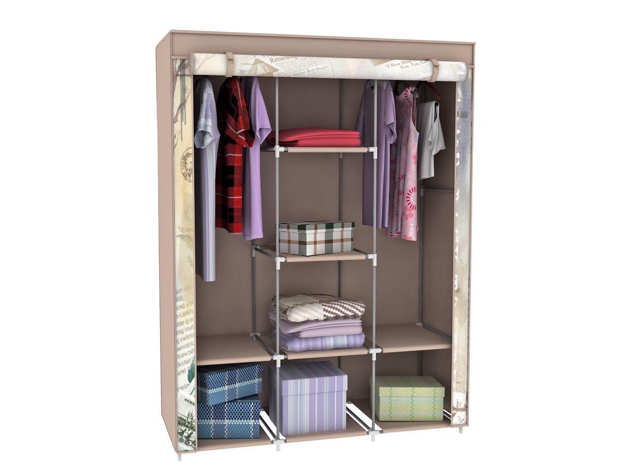 stoffschrank kleiderschrank mit freiheitsstatue motiv new york 6 f cher 2 stange ebay. Black Bedroom Furniture Sets. Home Design Ideas