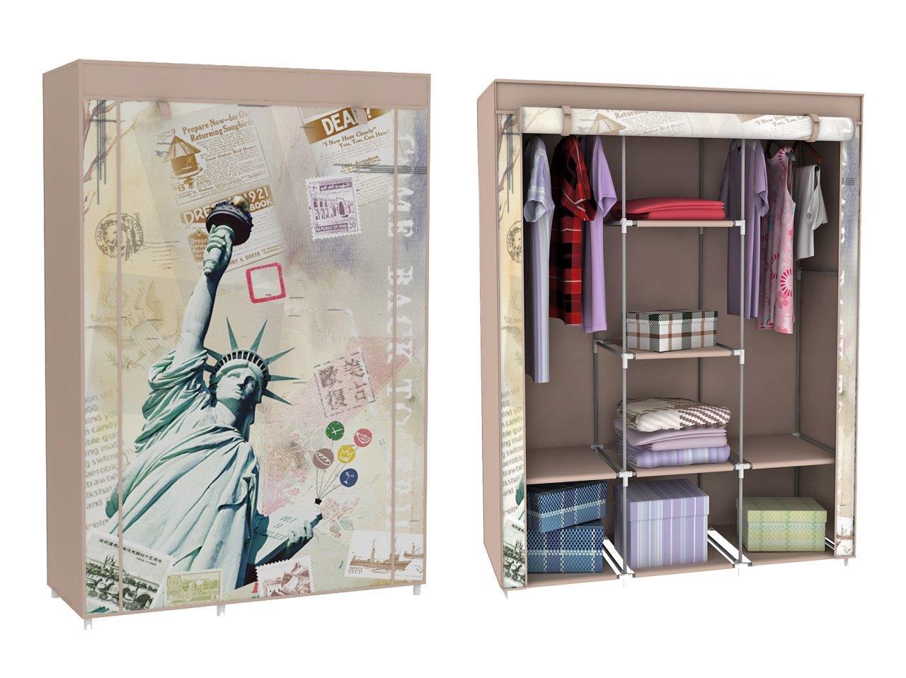 stoffschrank kleiderschrank mit freiheitsstatue motiv new. Black Bedroom Furniture Sets. Home Design Ideas