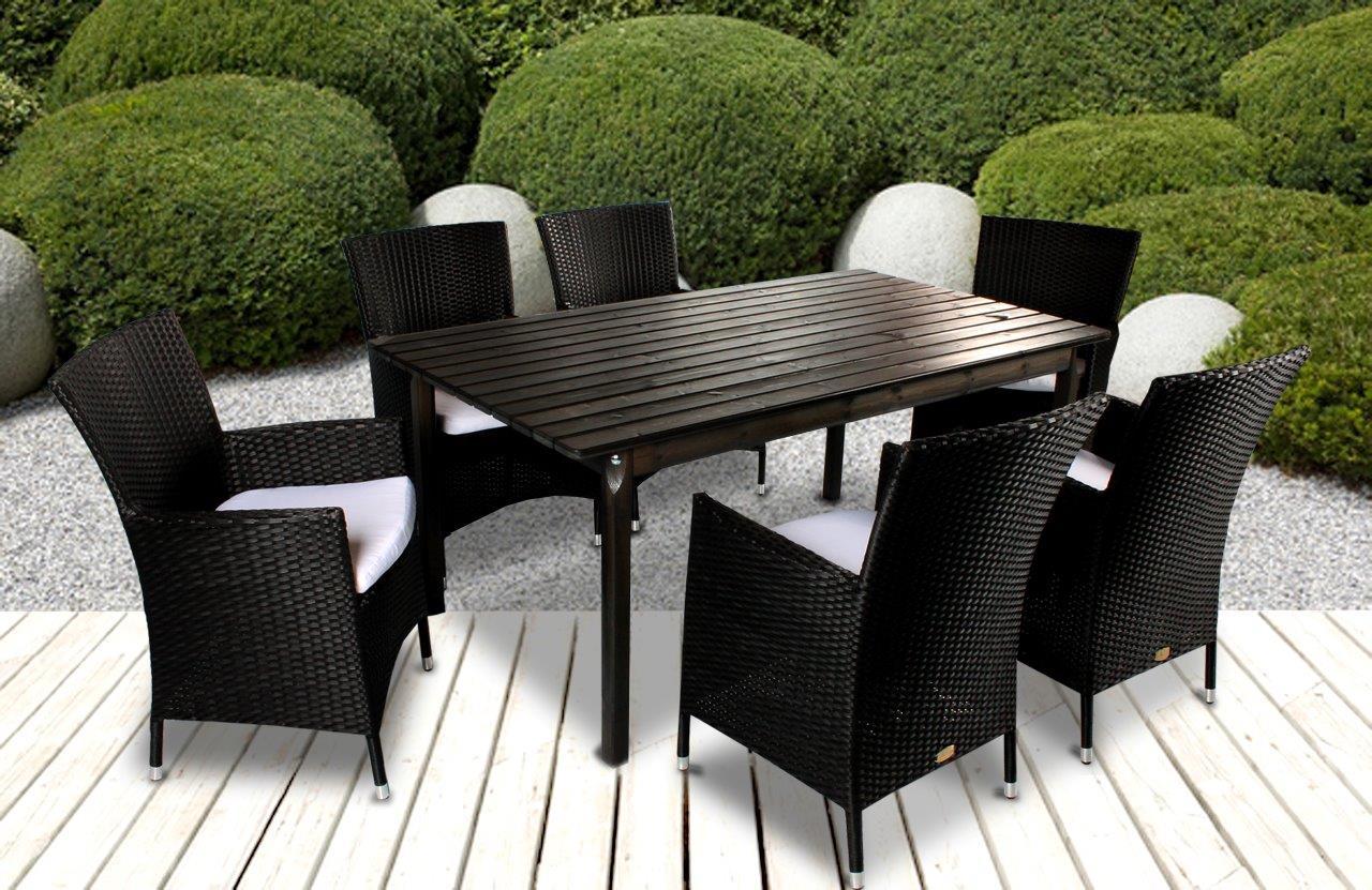 7tlg essgruppe sitzgruppe polyrattan schwarz 160x90 cm gartenm bel taupe wei ebay. Black Bedroom Furniture Sets. Home Design Ideas