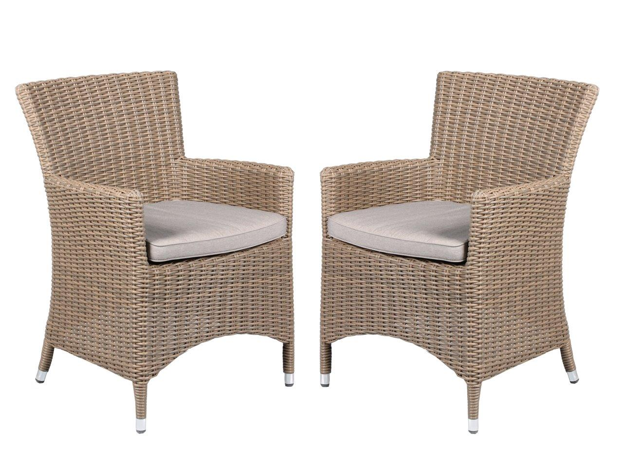 2er set polyrattan sessel beige grau inkl kissen gartenstuhl esszimmer spar set ebay. Black Bedroom Furniture Sets. Home Design Ideas