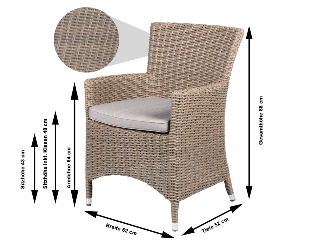 2er set polyrattan sessel beige grau inkl kissen. Black Bedroom Furniture Sets. Home Design Ideas