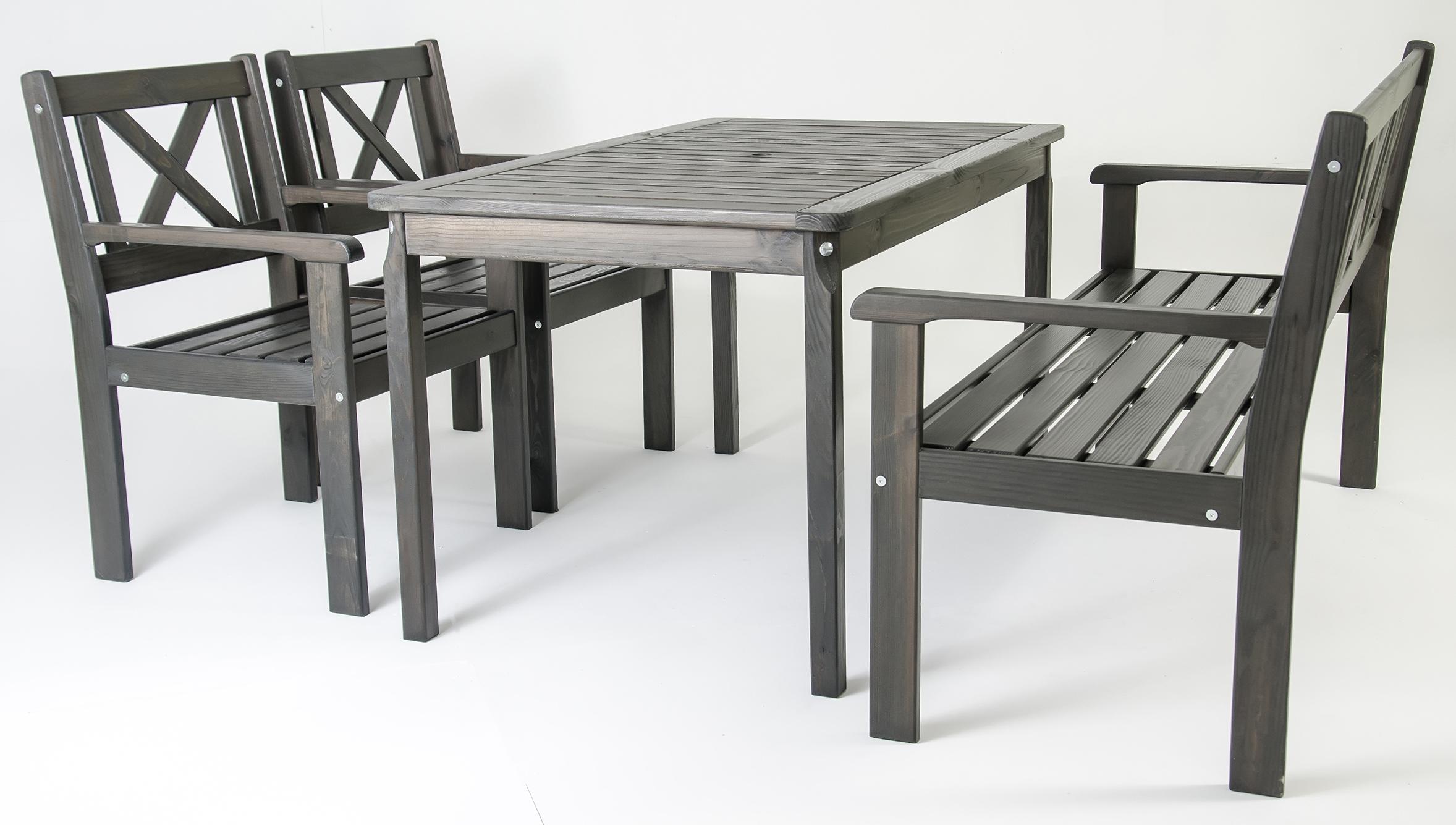 4tlg gartenset gartenm bel essgruppe landhaus sessel bank tisch 135 x 77 cm ebay. Black Bedroom Furniture Sets. Home Design Ideas