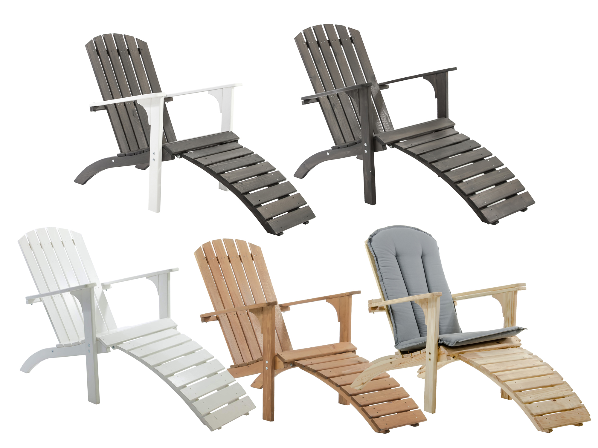 adirondack chair stuhl deckchair wei braun taupe gartenstuhl mit fu teil liege ebay. Black Bedroom Furniture Sets. Home Design Ideas